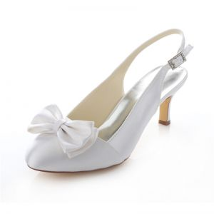Beautiful Satin Wedding Shoes Stiletto Heels White Pumps Slingbacks