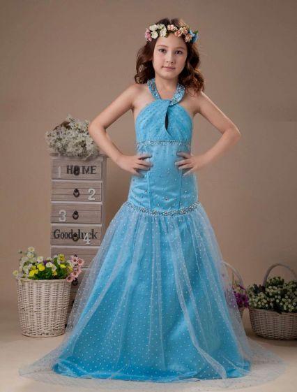 Vestido De La Longitud Del Piso Del Halter De Satén Niña De Las Flores Azules De Una Línea