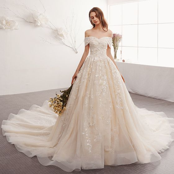 Elegant Champagne Wedding Dresses 2019 A-Line / Princess Off-The-Shoulder Short Sleeve Backless Appliques Lace Cathedral Train Ruffle