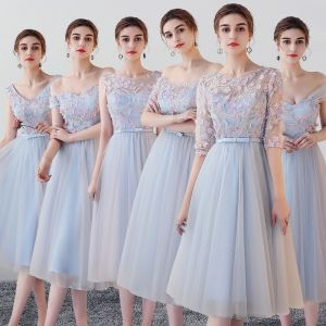 Chic / Beautiful Sky Blue Bridesmaid Dresses 2018 A-Line / Princess Appliques Flower Bow Sash Tea-length Ruffle Backless Wedding Party Dresses
