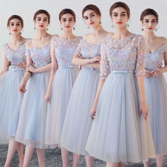 Chic / Beautiful Sky Blue Bridesmaid Dresses 2018 A-Line / Princess Appliques Flower Bow Sash Tea-length Ruffle Backless Wedding Party Dresses