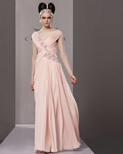 Elegant V Neck Floor Length Beading Tencel Charmeuse Evening Dress
