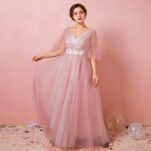 Chic / Belle Rougissant Rose Grande Taille Robe De Soirée 2018 Princesse V-Cou Tulle Lacer Bretelles croisées Appliques Dos Nu Soirée Robe De Ceremonie