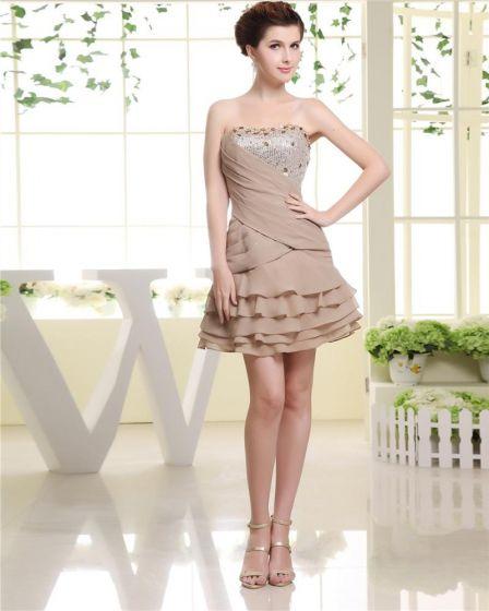 Pliegue Escote Palabra De Honor Con Lentejuelas Rebordear Vestido De Mujer De Línea A De Cóctel Corto De Gasa