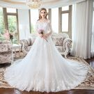 Luxury / Gorgeous White Wedding Dresses 2018 A-Line / Princess Lace Flower Scoop Neck Backless 1/2 Sleeves Royal Train Wedding