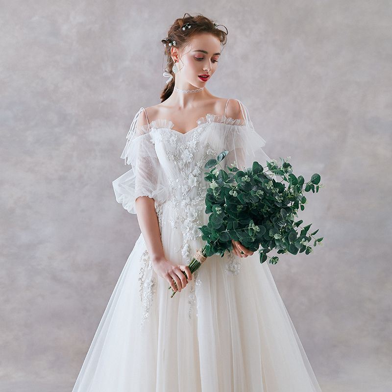 Affordable Ivory Wedding Dresses 2019 A-Line / Princess Off-The-Shoulder Puffy 1/2 Sleeves Backless Appliques Lace Pearl Sweep Train Ruffle