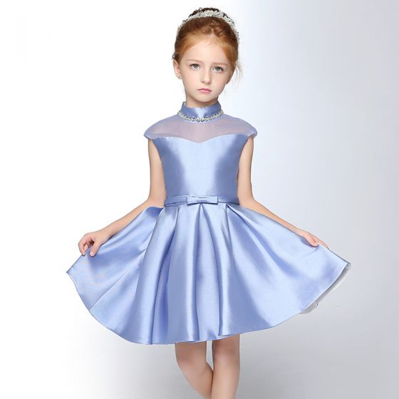 Chic / Beautiful Church Wedding Party Dresses 2017 Flower Girl Dresses Sky Blue Short A-Line / Princess Cascading Ruffles Bow Sash Sleeveless High Neck Rhinestone