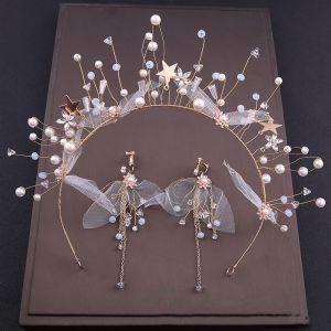 Mooie / Prachtige Goud Bruidssieraden 2020 Legering Kralen Parel Hair Hoop Oorbellen Bruids Haaraccessoires