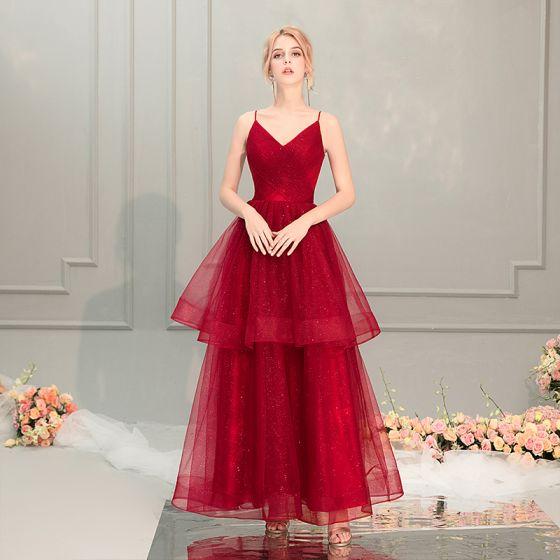 Bling Bling Burgundy Prom Dresses 2019 A-Line   Princess Spaghetti Straps  Sleeveless Glitter Tulle Ankle Length ... 638220384