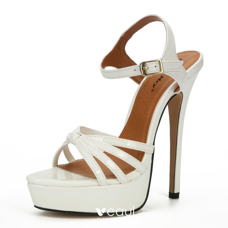 white open toe sandal heels