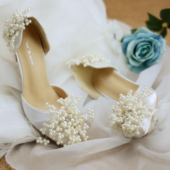 Elegante Marfil Perla Zapatos de novia 2020 Rhinestone 8 cm Stilettos / Tacones De Aguja Punta Estrecha Boda De Tacón