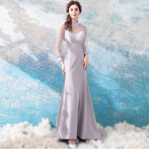 Luxury / Gorgeous Grey 2018 Evening Dresses  Summer Trumpet / Mermaid Tulle Lace High Neck Floor-Length / Long Long Sleeve Beading Appliques Backless Evening Party Formal Dresses