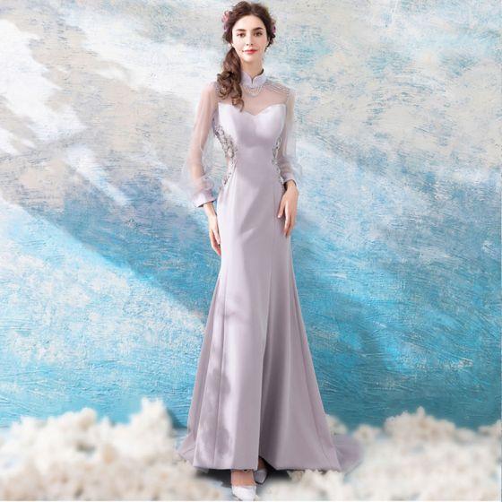 Luxury Gorgeous Grey 2018 Evening Dresses Summer Trumpet Mermaid