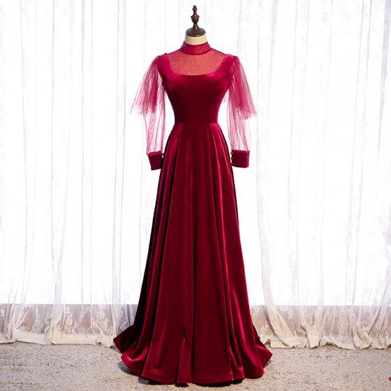 Vintage Burgunderrot Velour Winter Abendkleider 2020 A Linie Durchsichtige Stehkragen Geschwollenes Lange Ärmel Lange Rüschen Rückenfreies Festliche Kleider