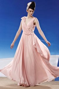 V Neck Flower Ruffle Sleeveless Backless Floor Length Chiffon Woman Evening Dress
