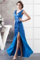 2015 Elegant Empire V Neck Shoulders Ruffles Beading Blue Evening Dress Prom Dress