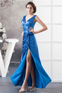 2015 Elegant Empire V Neck Shoulders Ruffles Beading Blue Evening Dress Prom Dress