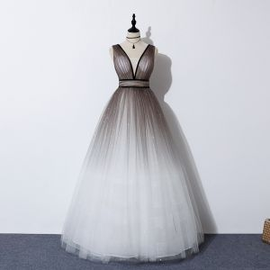 Charming Brown Gradient-Color White Dancing Prom Dresses 2020 A-Line / Princess Deep V-Neck Sleeveless Glitter Tulle Sash Floor-Length / Long Ruffle Backless Formal Dresses