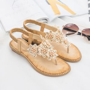 Bohemia Chic / Beautiful Beige Casual Crystal Slipper & Flip flops 2020 Lace Flower Pearl Flat Womens Shoes