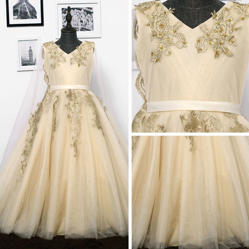 Chic / Beautiful Church Wedding Party Dresses 2017 Flower Girl Dresses Gold A-Line / Princess Detachable Sweep Train V-Neck Sleeveless Sash Sequins Pearl Appliques