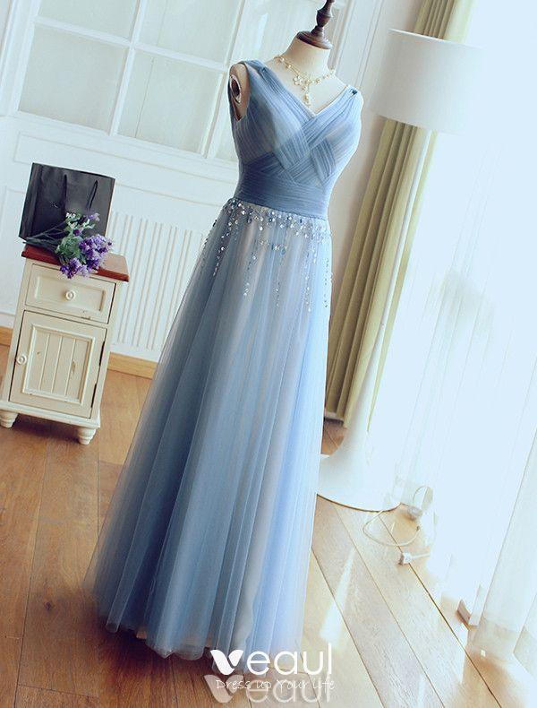 Glamorous Evening Dresses 2017 V-neck Ruffled Tulle With Sequins Tassel Long Dress