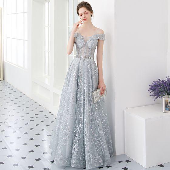 d7b232e438 Iluzja Srebrny Sukienki Wieczorowe 2019 Princessa U-Szyja Kótkie Rękawy  Cekinami Tiulowe Metal Szarfa Długie Wzburzyć ...