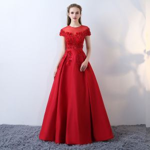 Chic / Beautiful Red Pierced Evening Dresses  2017 A-Line / Princess Scoop Neck Short Sleeve Appliques Flower Pearl Beading Sash Floor-Length / Long Backless Formal Dresses
