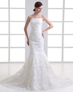Tulle Applique Strapless Court Train Mermaid Wedding Dress
