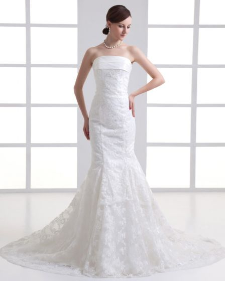 Tulle Applique Strapless Court Train Mermaid Wedding Dress