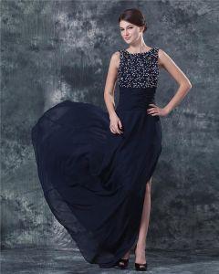 Mousseline De Soie Perles Dos En V Meres Longueur De Plancher De Robes De Mariée Invites