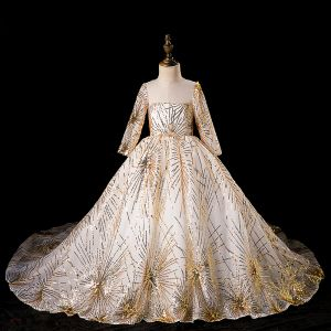 Chic / Beautiful Gold See-through Flower Girl Dresses 2019 Ball Gown Scoop Neck Long Sleeve Glitter Sequins Chapel Train Ruffle Backless Wedding Party Dresses