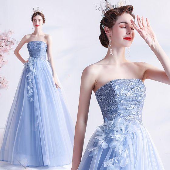 Mode Himmelsblå Spets Blomma Balklänningar Halterneck 2021 Prinsessa Axelbandslös Ärmlös Långa Formella Klänningar