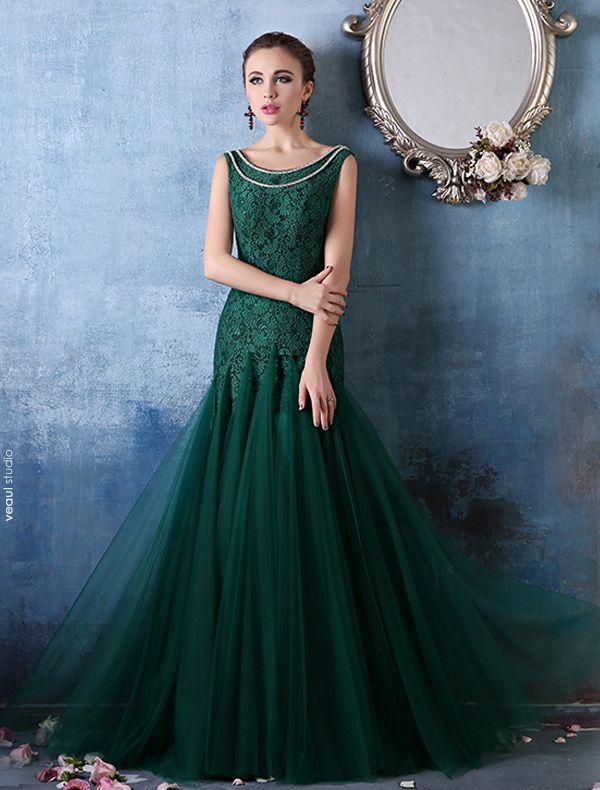 Encolure Carrée Glamour Avec Chaîne En Métal Robe De Soirée Verte Dentelle Organza