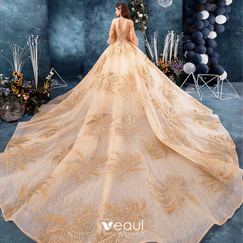 Best Champagne Lace Wedding Dresses 2019 Ball Gown Off-The
