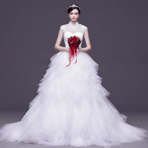 Chinese style White Pierced Wedding Dresses 2017 Ball Gown High Neck Sleeveless Backless Appliques Lace Rhinestone Detachable Court Train