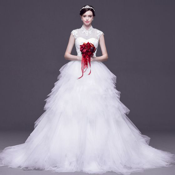 Chinese style White Pierced Wedding Dresses 2017 Ball Gown High Neck ...