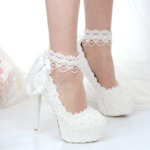 Classique Ivoire En Dentelle Fleur Chaussure De Mariée 2020 Perle 14 cm Talons Aiguilles À Bout Rond Mariage Escarpins
