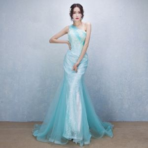 Chic / Beautiful Elegant Pool Blue Evening Dresses  2017 Trumpet / Mermaid One-Shoulder Lace Appliques Beading Handmade  Evening Party Formal Dresses