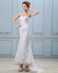 Embroidery Beading Sequins Lace Up Back Satin Sheath Wedding Dress