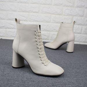Fine Hvit Casual Kvinners støvler 2019 Lær 8 cm Tykk Hæler Spisse Boots