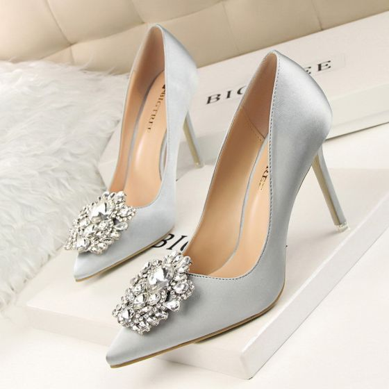 Chic / Beautiful Silver Evening Party Rhinestone Pumps 2020 10 cm Stiletto Heels Pointed Toe Pumps
