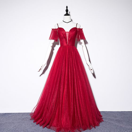 Chic / Beautiful Burgundy Evening Dresses  2019 A-Line / Princess Spaghetti Straps Short Sleeve Beading Floor-Length / Long Ruffle Backless Formal Dresses