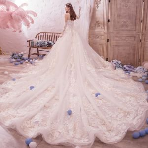 Romantic Champagne Wedding Dresses 2019 A-Line / Princess Amazing / Unique Sweetheart Sleeveless Backless Appliques Lace Beading Glitter Tulle Cathedral Train Ruffle