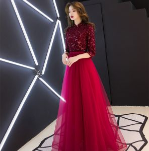 Chinese style Burgundy Evening Dresses  2019 A-Line / Princess High Neck Tassel Sequins Bow 1/2 Sleeves Floor-Length / Long Formal Dresses