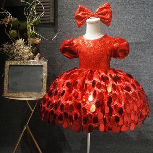 Märchen Rot Geburtstag Blumenmädchenkleider 2020 Ballkleid Rundhalsausschnitt Geschwollenes Kurze Ärmel Pailletten Kurze Kleider Für Hochzeit