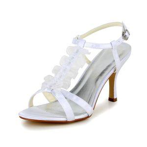 Glamourösen Peep Toe High Heels White Satin Riemchensandalen Mit Schnalle