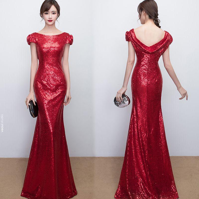 Sparkly Formal Dresses 2017 Evening Dresses  Gold Sequins Trumpet / Mermaid Floor-Length / Long Scoop Neck Short Sleeve Backless