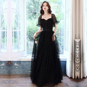 Style Victorien Noire Dansant Robe De Bal 2021 Princesse Encolure Carrée Gonflée Manches Courtes Perlage Perle Glitter Tulle Longue Volants Dos Nu Robe De Ceremonie