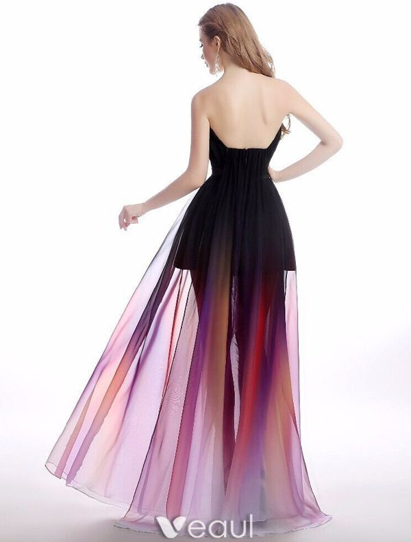 Sexy Cocktail Party Dress 2016 Strapless Gradient Color Chiffon Transparent Dress