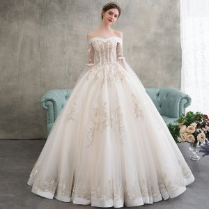 Elegant Champagne Wedding Dresses 2018 Ball Gown Appliques Lace Beading Pearl Off-The-Shoulder Backless Long Sleeve Floor-Length / Long Wedding